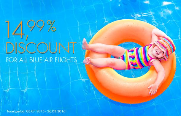 BlueAir anunta trei zile de reduceri de 14,99% pentru bilete cumparate