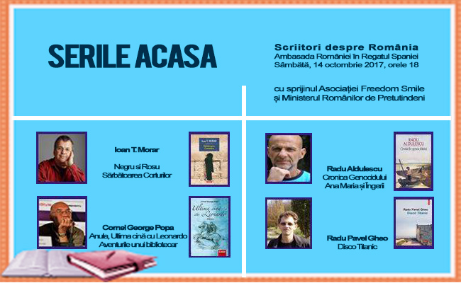 'Acasa la Ambasada' – serile culturale de la Madrid continua sambata 14 octombrie 2017