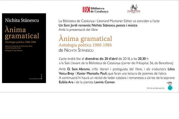 Sant Jordi românesc: Nichita Stănescu – seara de poezie si muzică / Barcelona
