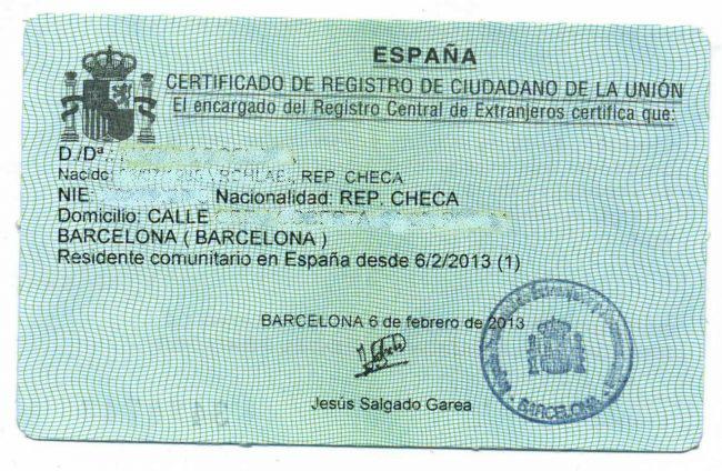 NIE Certificatul de Rezidenţă – Foaia Verde