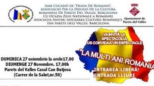"""""""La Mulți Ani România"""" – Duminică, 27 noiembrie, Parets del Valles / Barcelona"""