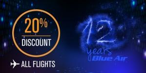 20% reducere la toate zborurile cumpărate astăzi la Blue Air